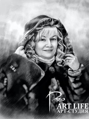 Стилизация по фото под портрет карандашом