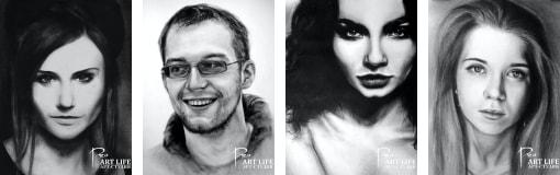 Цены на черно-белый портрет сухой кистью