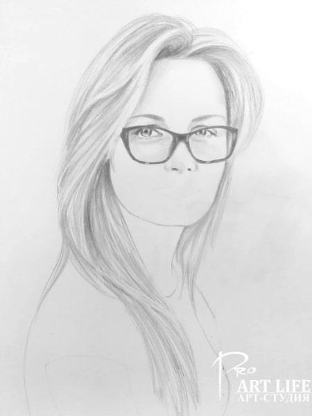Портрет карандашом этап работы